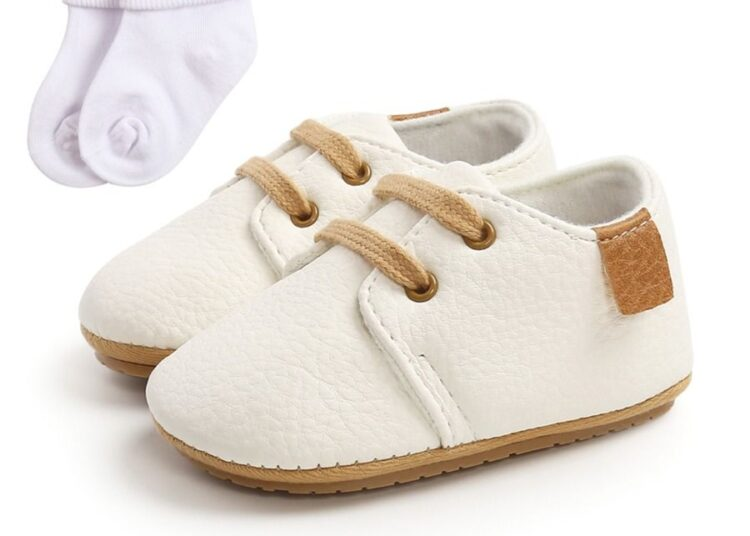 kiskissing wholesale 2 Pieces Baby PU Shoes With Socks